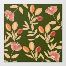 floral with green background Canvas Print