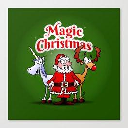 Magic Christmas with a unicorn Canvas Print