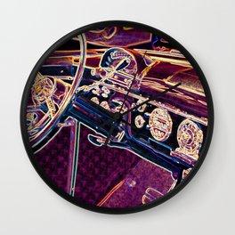 Old steering wheel interior Wall Clock