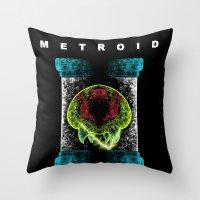 metroid Throw Pillows featuring Metroid by MeleeNinja
