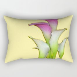PURPLE & WHITE CALLA LILIES FLORAL YELLOW ART Rectangular Pillow