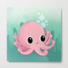 Octopus Flipping the Bird Metal Print