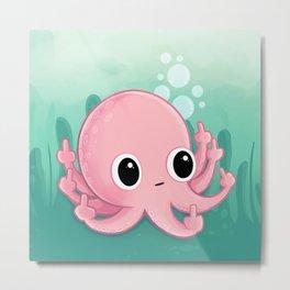Octopus Flipping the Bird Metal Print