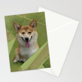 Pembroke Welsh Corgi Abstract Mixed Media Stationery Cards