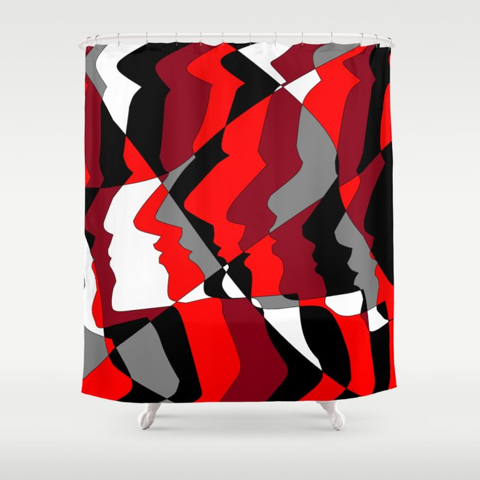 Profiles In Red Maroon Black Gray And White Shower Curtain By Judysnyder007