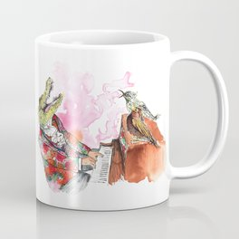 Piano Playing Alligator in a Floral Blazer, with Backup Singing Birds Coffee Mug