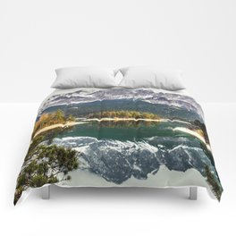 Green Blue Lake, Trees and Mountains Comforters