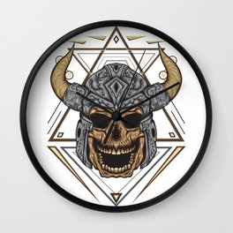 vector illustration of viking skull with sacred geometry background. Wall Clock