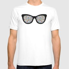Heart Eyes MEDIUM White Mens Fitted Tee