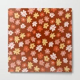 Retro Nineties Floral Pattern Design - Warm, Fall Colours Metal Print