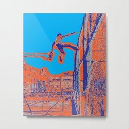 Boy Leaping From Swing onto Fence Metal Print