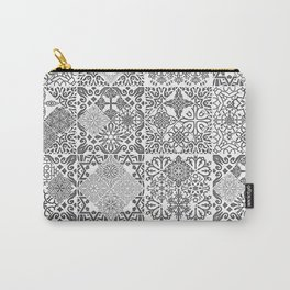 MOROCCAN TILE GRUNGE BLACK Carry-All Pouch