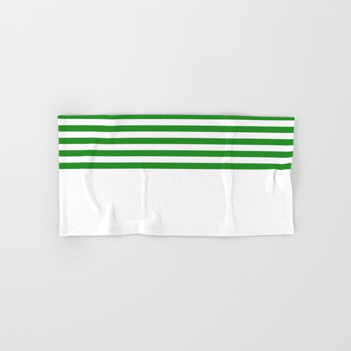 Horizontal Stripes (Forest Green/White) Hand & Bath Towel