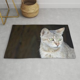 Beautiful Pensive Young Cat Portrait Rug