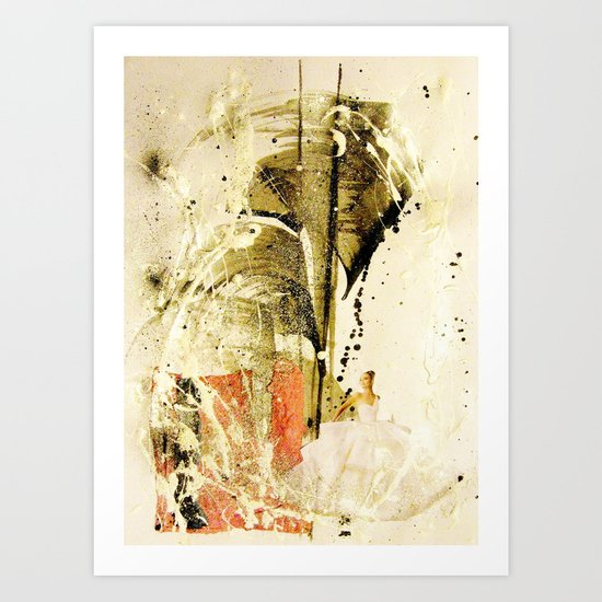 lady in white Art Print