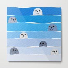 Cute sea lion in blue ocean Metal Print