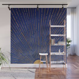 Twilight / Blue and Metallic Gold Palette Wall Mural