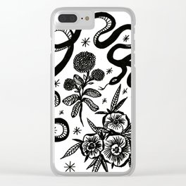 Snake and flowers Clear iPhone Case