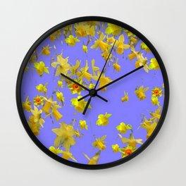 Yellow Daffodils Jonquils Narciscus Flowers Lilac Art Wall Clock