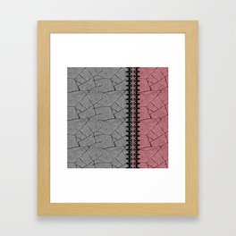 Gray, red background with a decorative vertical stripe. Framed Art Print