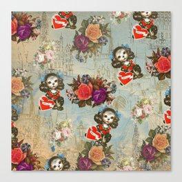 Shabby vintage dog floral landmark pattern Canvas Print