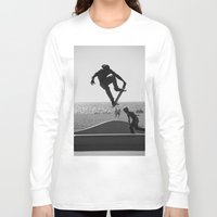skateboard Long Sleeve T-shirts featuring Skateboard Freedom by Scotty Photography