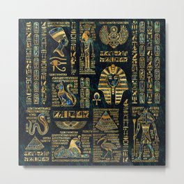 Ancient Egyptian Hieroglyph Sphinx Pyramid Metal Print