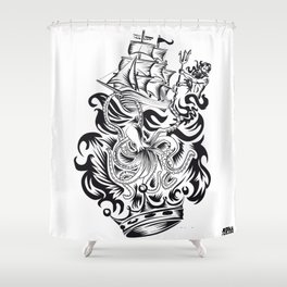 ONE INK OCTOPUS Shower Curtain