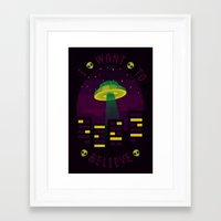 i want to believe Framed Art Prints featuring I WANT TO BELIEVE by badOdds