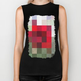 Red Rose Edges Abstract Rectangles 3 Biker Tank