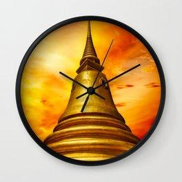 Thai Temple Sunset Wall Clock
