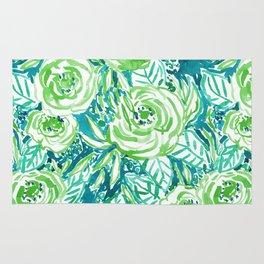 PHUNKY PHRESH Green Aqua Floral Rug
