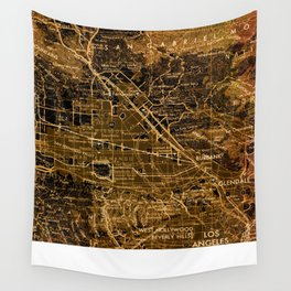Old map of Los Angeles, year 1966 Wall Tapestry