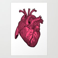 hot pink heart Art Print