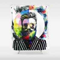globe Shower Curtains featuring Hipster Globe by Psyca