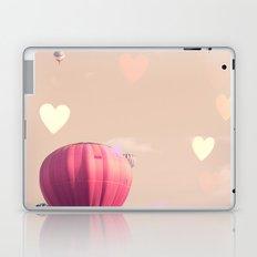 Hot air balloons nursery and heart bokeh on pale pink Laptop & iPad Skin