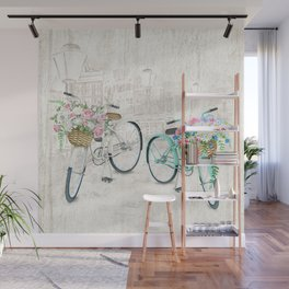 Vintage Bicycles With a City Background Wall Mural