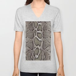 Faux Boa Constrictor Snake Skin Design Unisex V-Neck