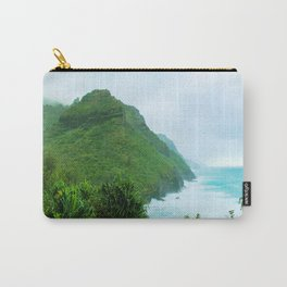 green mountain with blue ocean view at Kauai, Hawaii, USA Carry-All Pouch