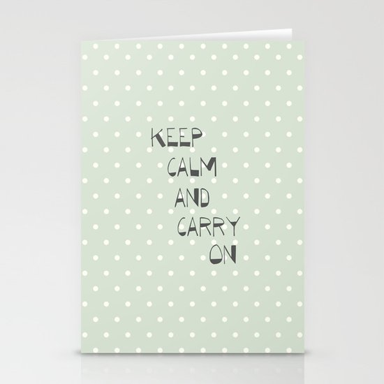 Keep Calm and Carry on ~ polka dot ~ poster ~ typography ~ illistration Stationery Cards