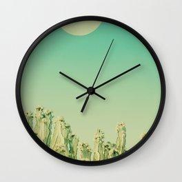 Moon over Cacti Wall Clock