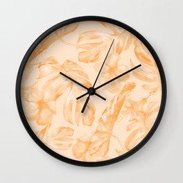 Island Vacation Hibiscus Palm Leaf Orange Wall Clock