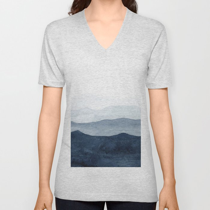 Indigo Abstract Watercolor Mountains Unisex V-Neck