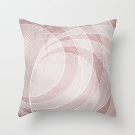Orbiting Circle Design in Shell Pink Throw Pillow