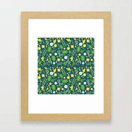 Modern navy blue tropical sunshine yellow green floral Framed Art Print