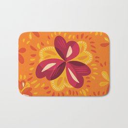 Orange And Pink Clover Abstract Floral Bath Mat