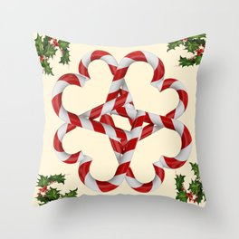CREAMY YELLOW  RED-WHITE PINK  CHRISTMAS CANDY CANES Throw Pillow