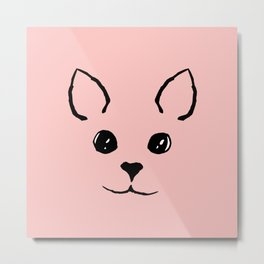 Cute Adorable Hand Drawn Kitty Face Pink and Black Metal Print