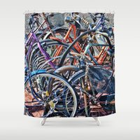 bicycles Shower Curtains featuring Lots of colorfull bicycles by Claude Gariepy