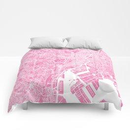 Tokyo map pink Comforters
